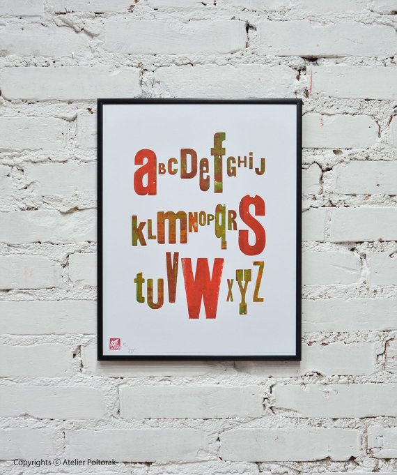 Alphabet  letterpress poster by AtelierPoltorak on Etsy