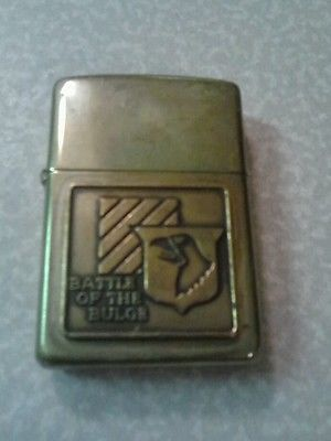 NICE-Vintage-Gold-zippo-Battle-of-the-Bulge-lighter-MADE-IN-THE-USA-Rare