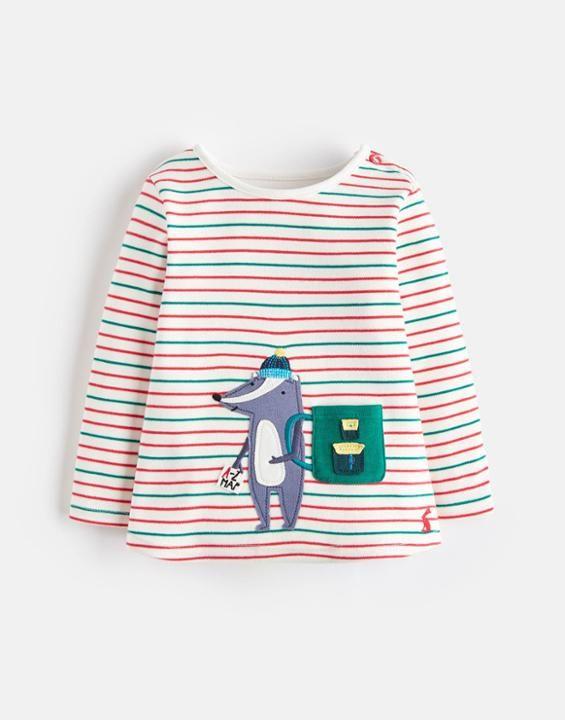 aafe2bf82 Joules US Baby Jack Baby Boys Applique Long Sleeve Jersey Top Multi Stripe  Badger