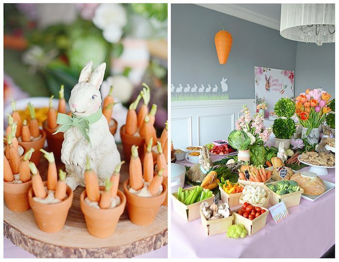 Carrot Snacks + Food Table from a Bunny Birthday Party via Kara's Party Ideas   KarasPartyIdeas.com (13)