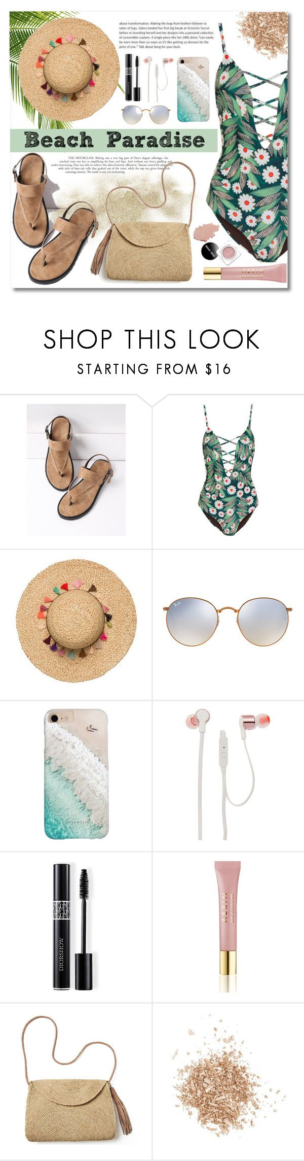"""Untitled #61"" by alyssa-1221 ❤ liked on Polyvore featuring Mara Hoffman, Ray-Ban, Gray Malin, JBL, Christian Dior, AERIN, Mar y Sol and Topshop"