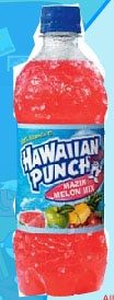 Hawaiian Punch 'Mazin Melon Mi is a soft drink offering from Dr Pepper Snapple Group. Each serving of Hawaiian Punch 'Mazin Melon Mi contains 110 calories and 28 grams of sugar, which is 9.7% less than the average for all Soda Calories & Nutrition.