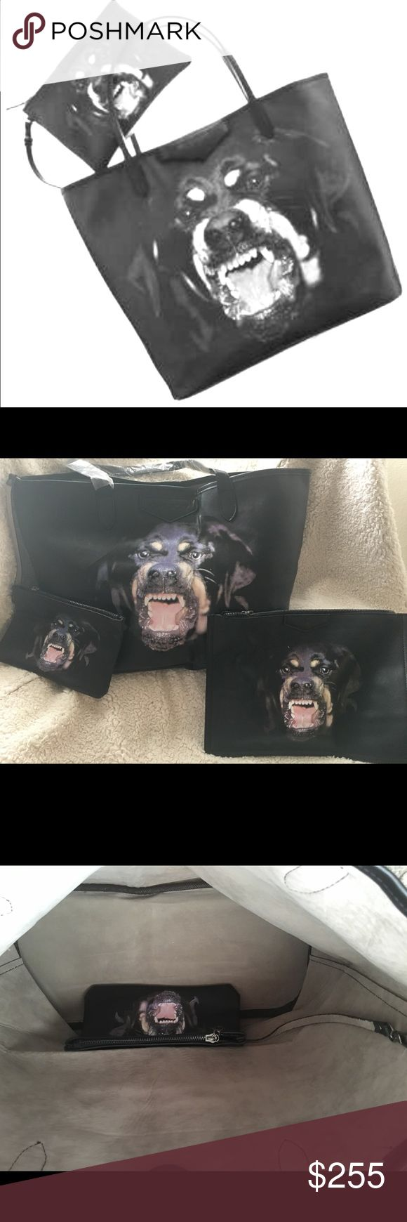 MAKE OFFERS 3 PIECES Rottweiler Bag New set of 3 handbags. Outside brand tag. Inside no brand. I think its the size of GM neverfull . I tool a pic beside a MM neverfull its smaller. Its very roomy. Come with small pouch and a clutch bag. Price reflects please its very obvious. Am open to offers message me. Its beautiful purse last 3 pics for reference of size. The LV not included.Part of sale is going to help pay bills of a family with cancer. Thanks Givenchy Bags Totes