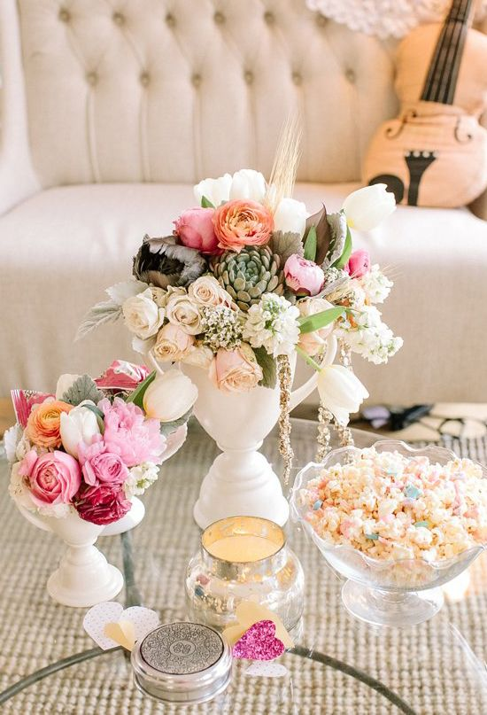white porcelain vases and mixed pastel floral