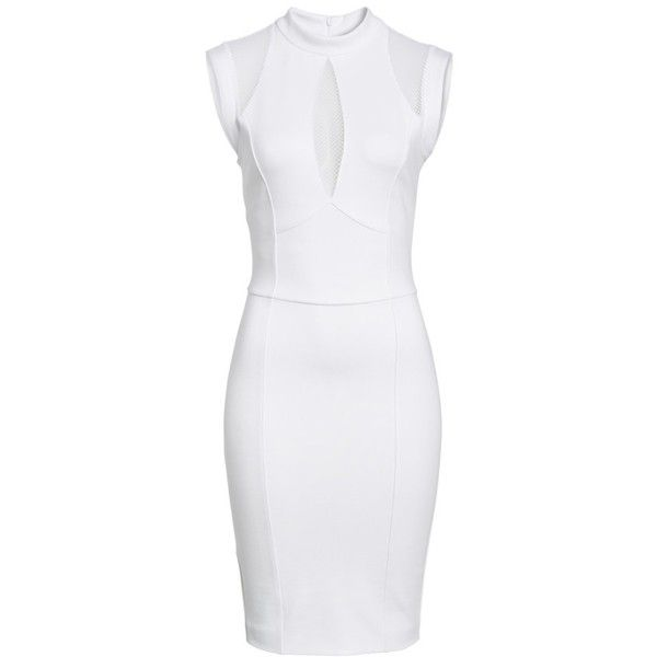 Women's Sentimental Ny Galactica Body-Con Dress ($140) ❤ liked on Polyvore featuring dresses, white, bodycon cocktail dresses, white cocktail dress, mesh panel dress, white cut out dress and mesh insert dress