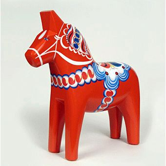 A Dalecarlian horse or Dala horse (Swedish: Dala) is a traditional carved and painted wooden statuette of a horse originating in the Swedish province of Dalarna. In the old days the Dala horse was mostly used as a toy for children; in modern times it has become a symbol of Dalarna as well as Sweden in general.