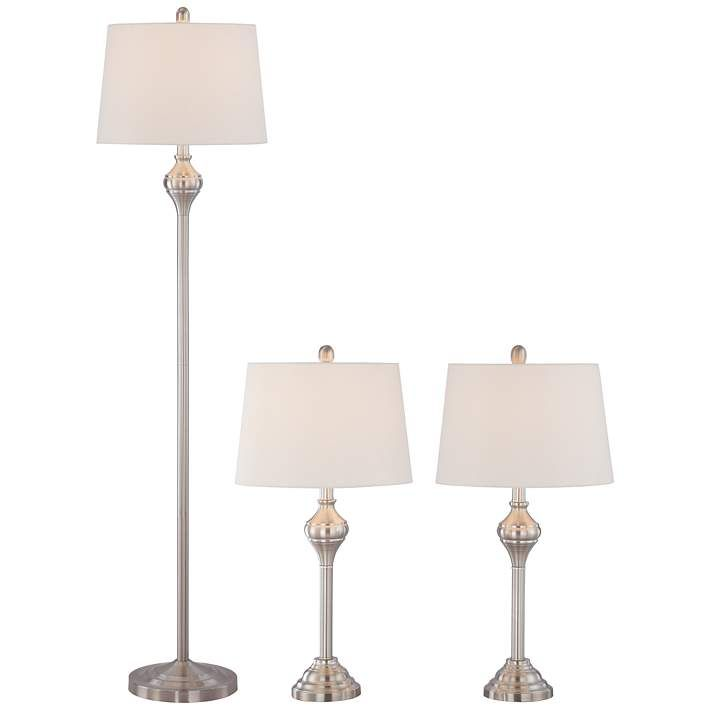 The 25 best table lamp sets ideas on pinterest farmhouse lamp mason brushed steel 3 piece floor and table lamp set 8p298 lamps mozeypictures Images
