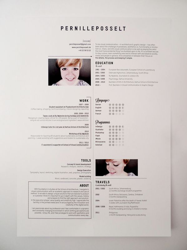 beautifully simple & sophisticated resumé by pernille posselt