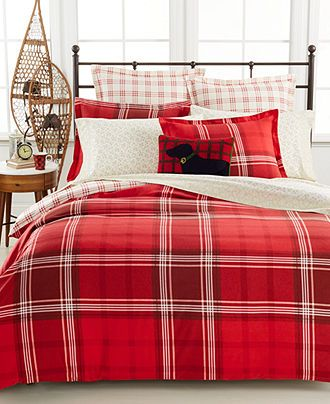 Martha Stewart Collection Sleigh Ride Plaid Flannel Bedding Collection - Duvet Covers - Bed & Bath - Macy's/ for the holidays!: