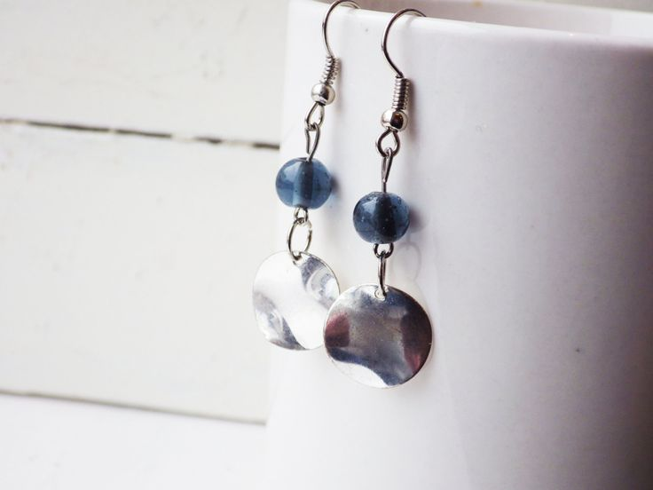 Blue Glass and Silver Disc Earrings by studioCworkshop on Etsy