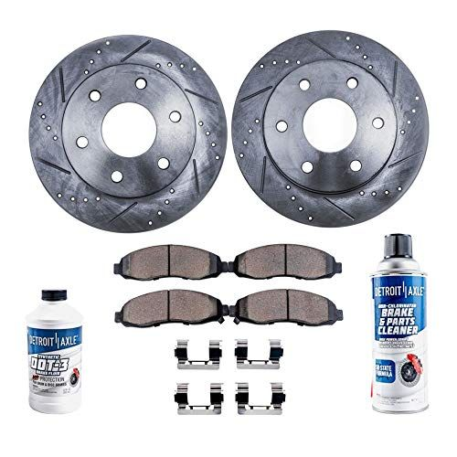 Detroit Axle - Pair (2) Rear Drilled and Slotted Disc Brake Rotors w