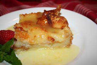 Bread pudding with lemon sauce. Easiest dessert ever - yummy.  This is my Aunt Charlotte's recipe.  She's going to be famous...