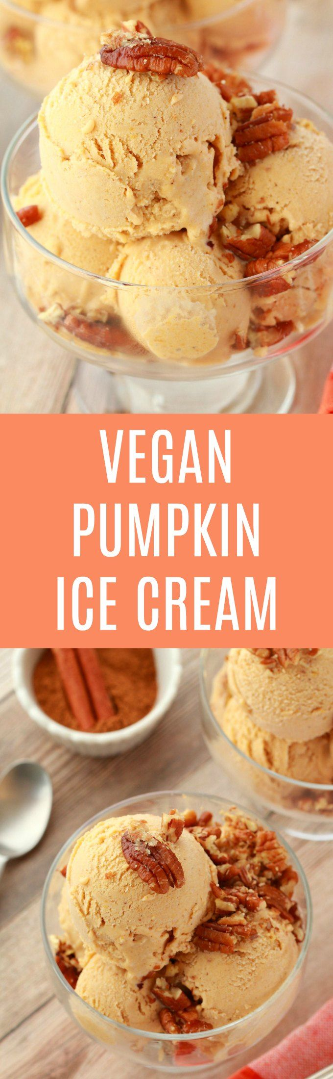 Smooth and perfectly textured pumpkin ice cream topped with pecan nuts. Loaded with pumpkin and pumpkin spice flavor, vegan and gluten-free. | lovingitvegan.com