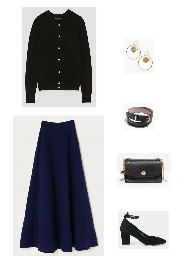 Time for Fashion » Style Consultancy. Black cardigan+dark blue maxi dress+black ankle strap pumps+black chain shoulder bag+black belt+earrings. Fall Evening Going Out/ Dressy Casual Dinner Outfit 2017
