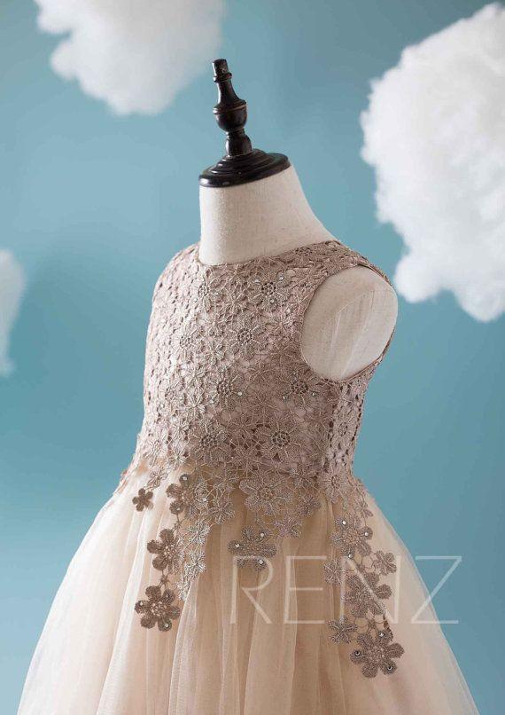 2016 Champagne Junior Bridesmaid dress Lace Flower por RenzRags