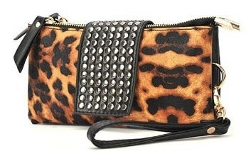 Leopard Print Studded Clutch - Save 78% only $19