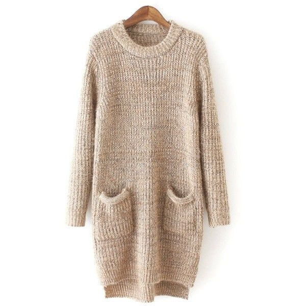 Pure Color Long Sleeve Sweater Dress ($26) ❤ liked on Polyvore featuring dresses, sweaters, tops, vestidos, long sleeve sweaters, brown sweater, brown tops i long sleeve tops
