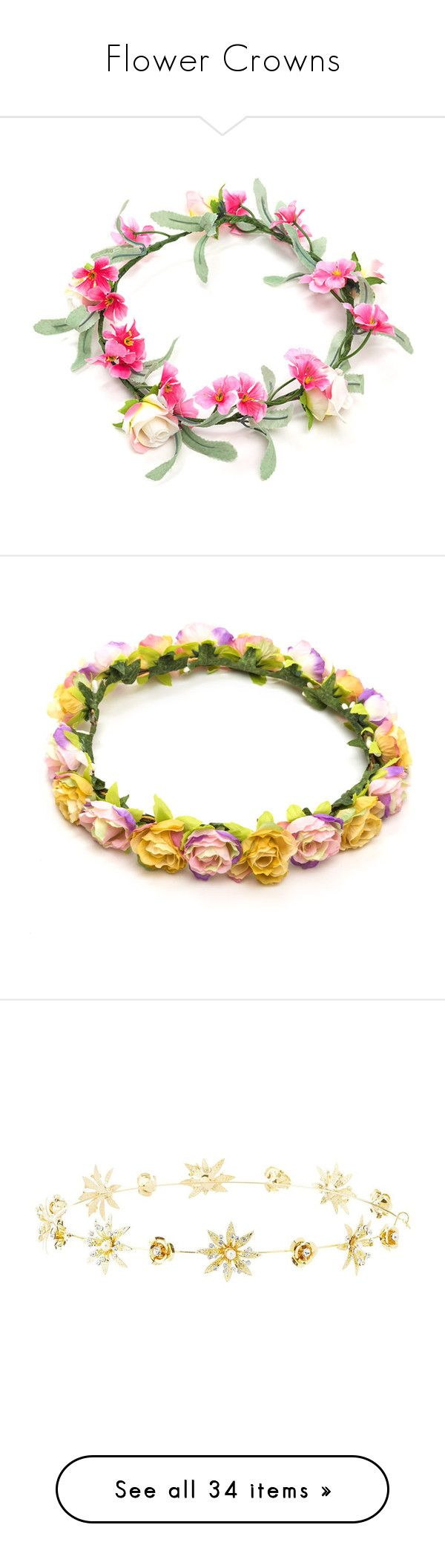 """Flower Crowns"" by amyjamesdevine ❤ liked on Polyvore featuring accessories, hair accessories, flower crown, headbands, hats, hair, multi, artificial garland, flower crown headband and floral wreath headband"