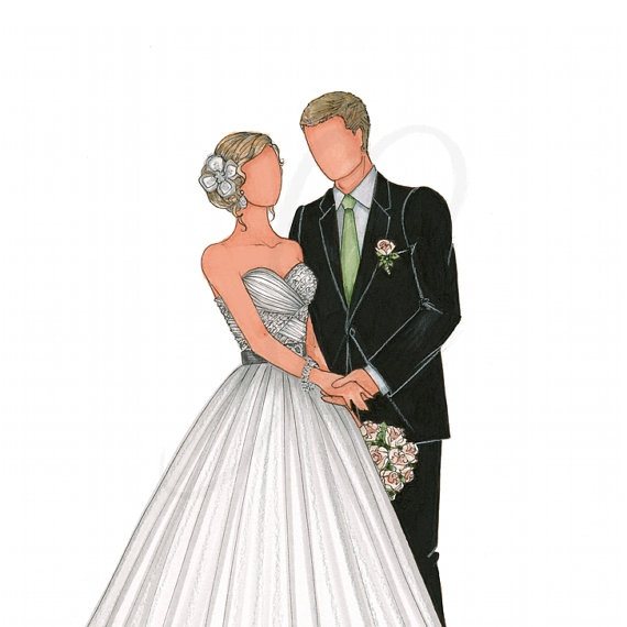 A great keepsake after your wedding. Custom Bride & Groom Illutration from theillustratedbride Etsy Shop!