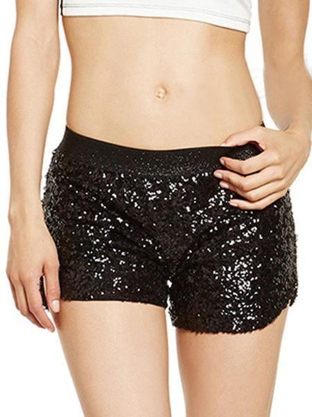COLOR:black DETAIL:sequin CLOSURE TYPE:elastic waist WAIST TYPE:low waist Size Availables: XS:Waist:60cm,;Length:37cmS:Waist:64cm,;Length:38cmM:Waist:68cm,;Leng