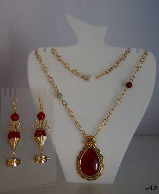 handmade jewellery - Kiki   : Ancient Greek style brass agate, carnelian handmade  earr...
