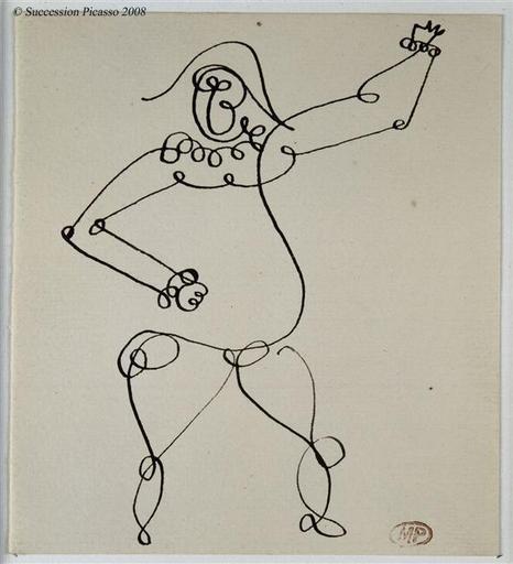 Pablo Picasso - Arlequin, 1918. Tracé en une seule ligne.