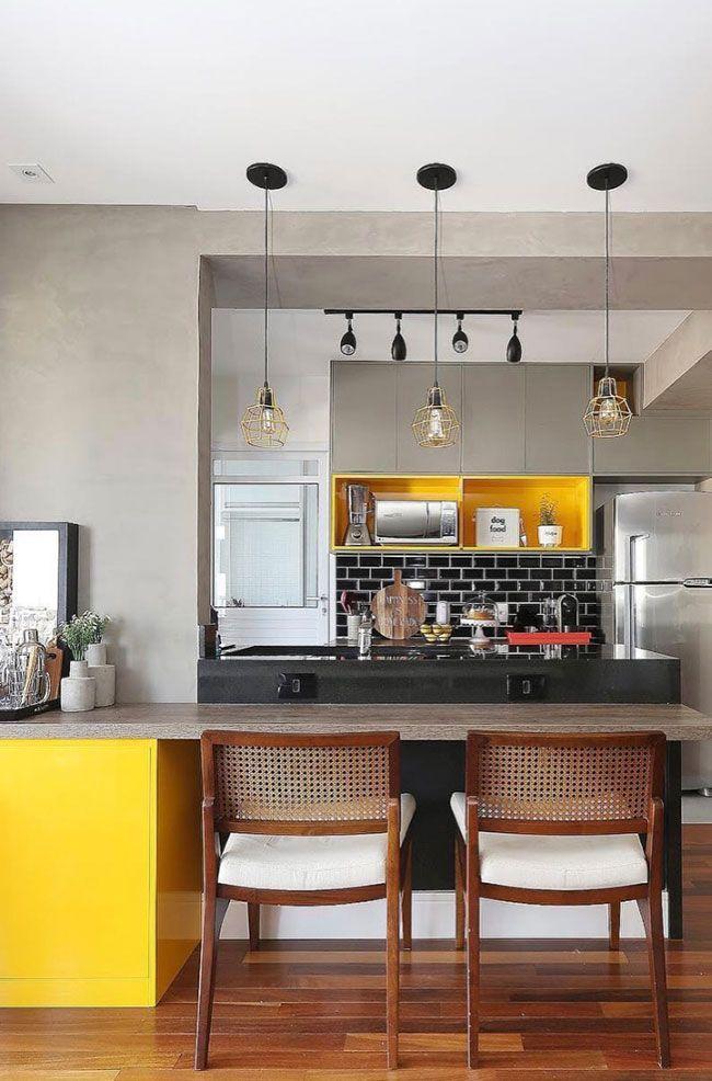 Cozinha Americana Com Balcao E Bancada Em Granito Preto Sao