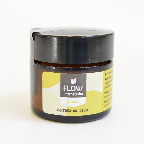 Flow cosmetics - Healing balm. A very strong bees wax based healing balm for cough and cold relief, blocked nose, cold sores, cuts, insect bites and as a lip balm. Can help aching muscles. It really works for childrena and adults!