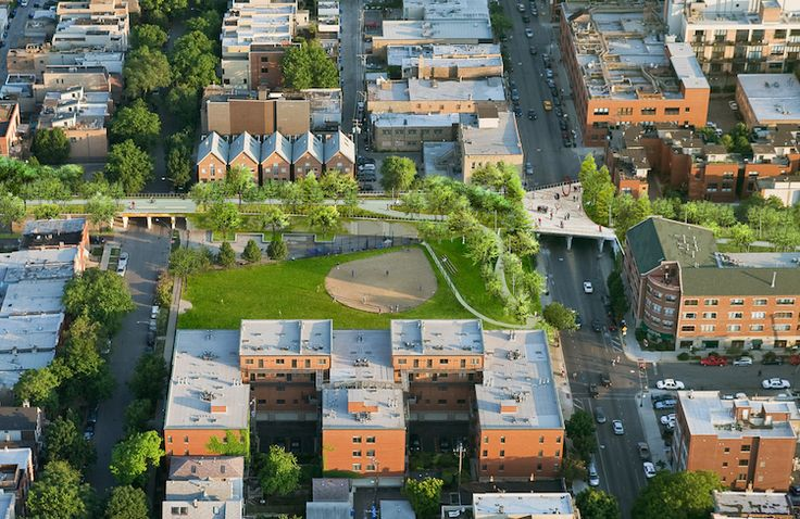"""A rendering of the $91 million project, which will link up a string of Chicago's West Side neighborhoods and, as supporters hope, become a new urban corridor. The view shows redevelopment around Churchill Park in the Bucktown neighborhood. As engineer Stan Kaderbek says, standing atop the raised path, even during construction, """"gives you a whole different feeling of the community. you can see what you're a part of.""""  Like many involved in the project, he believes the transformative potential…"""