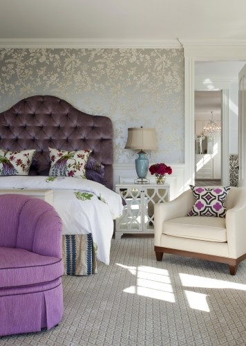 Purple Velvet HeadboardDecor, Contemporary Bedrooms, Ideas, Headboards, Bedrooms Design, Bedrooms Wallpapers, Master Bedrooms, Purple Bedrooms, Accent Wall