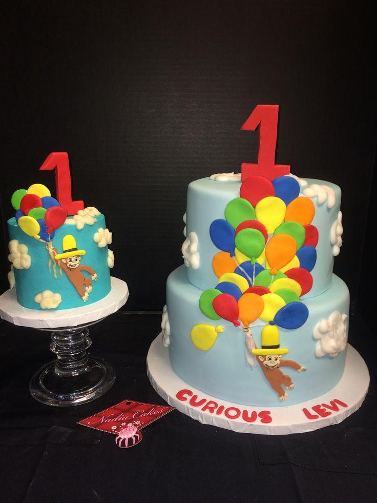 Curious George Cake & Smash Cake.  Made at Nadia Cakes