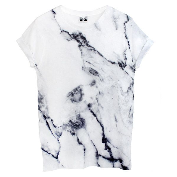 07353238b Marble Tee ($37) ❤ liked on Polyvore featuring tops, t-shirts, shirts, tees,  unisex t shirts, marble t shirt, crew neck tee, white grap…