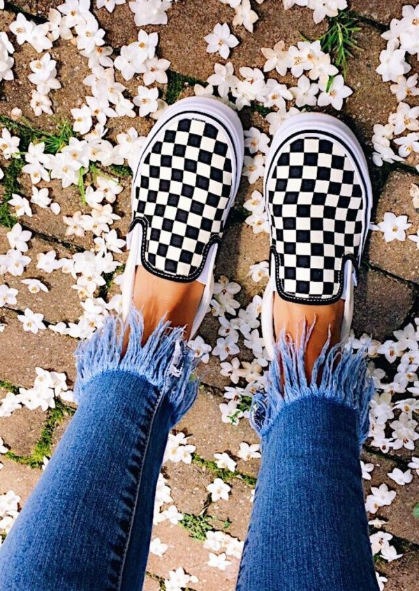 Black And White Checkered Vans Shoe Trend Back To School Looks