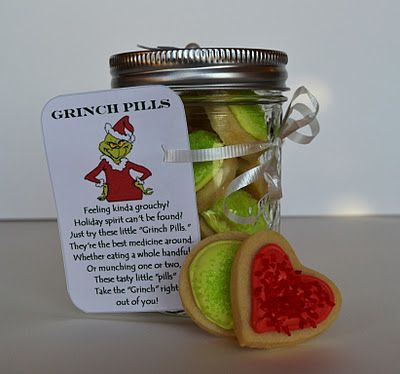 What is so clever about this–aside from the Grinch pill part–is the one heart cookie at the bottom of the jar. Make Grinch Pill cookies and find a link to the printable for the Grinch poem tag HERE…