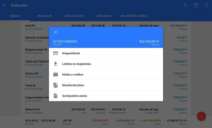 Tablet Számla Számla lista, számla adatok és műveletek  https://play.google.com/store/apps/details?id=com.tabletinvoice.app