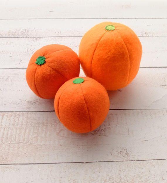 ONE Felt Mandarine Tangerine Citrus Clementine Sewn Full-Sized