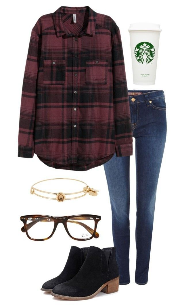 """""""Ootd ❤️11/19/15❤️"""" by madelyn-abigail ❤ liked on Polyvore featuring 7 For All Mankind, H&M, Alex and Ani and Ray-Ban:"""