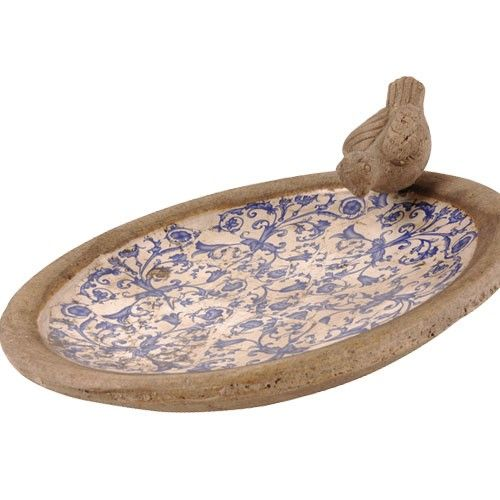 Abreuvoir oiseaux en céramique bleu