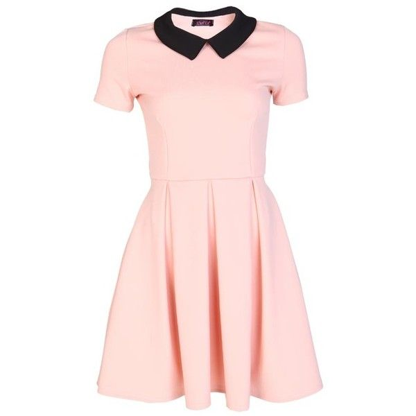 Collar Skater Dress In Nude and other apparel, accessories and trends. Browse and shop related looks.