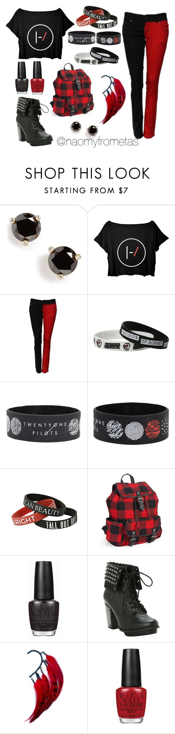 """""""Favorite Rock Bands Outfit"""" by naomyfrometas ❤ liked on Polyvore featuring Kate Spade, Aéropostale, OPI, Anni Jürgenson, black and red"""