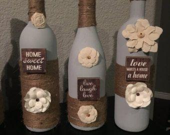 HOME WINE BOTTLE decor home wine bottles by ChiclyShabbyDesigns