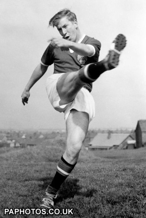Bobby Charlton 1958. Bobby Charlton, played centre-forward for Manchester United