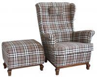TV Sessel + Hocker Dunkel grey