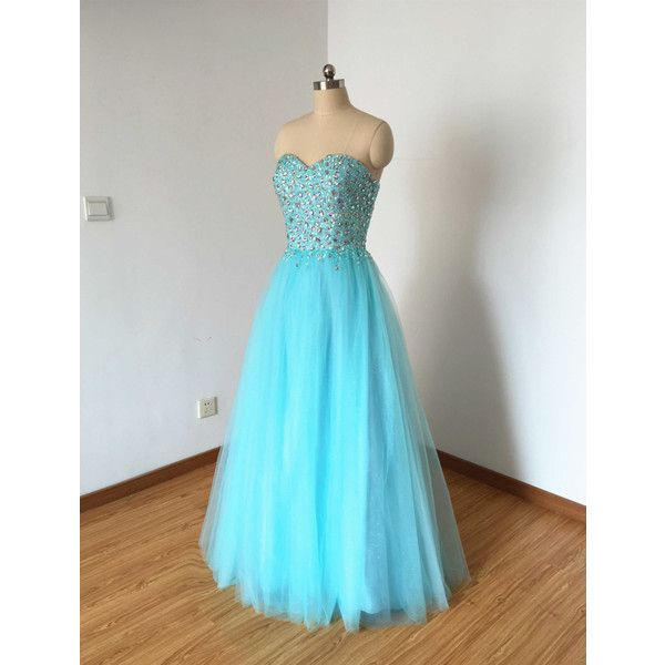 Long Prom Dress Prom Dress 2016 Sweetheart Prom Dress Blue Prom Dress... ($159) ❤ liked on Polyvore featuring dresses, grey, women's clothing, ball dresses, tulle dress, long dresses, grey prom dresses and gray dress