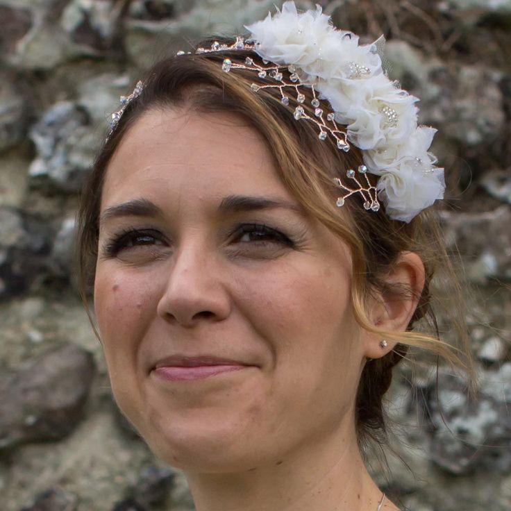 Four flower rose gold crystal hairband - Phoebe by Ali Rose Bridal www.ali-rose.co.uk