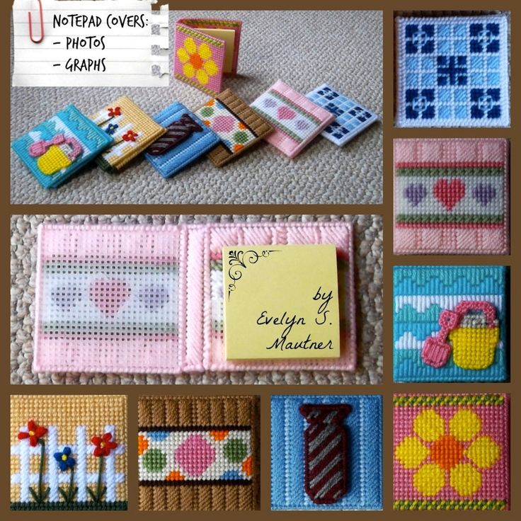 """""""Notepad Covers in Plastic Canvas"""" ePattern, Annie's Catalog (http://www.anniescatalog.com/detail.html?prod_id=112233) -- 7 patterns for under $6. . .very easy to customize and make in your own color scheme!"""