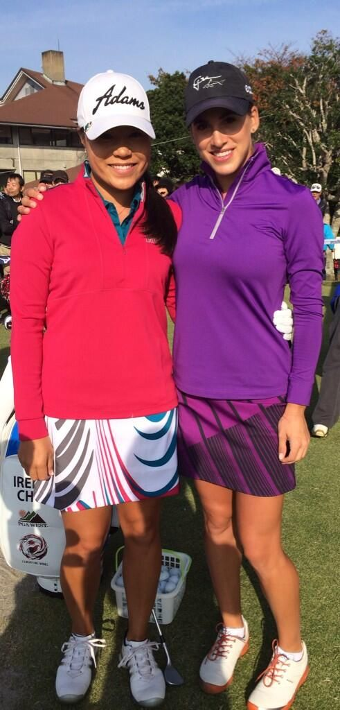 "November 9, 2013: ""@Belinda Chang Chanén Mozo and I before the 2nd round in Japan. Love our colorful Greg Norman Collection outfits!,"" said LPGA Tour player Irene Cho (left) of this photo op with her fellow Greg Norman Collection ambassador Belen Mozo before the second round of the LPGA Tour's Mizuno Classic."
