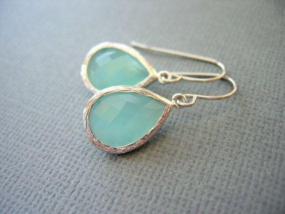 Mint green, aqua glass teardrop shaped earrings in white gold plating.