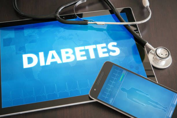 diabetes diagnosis medical concept on tablet screen with stethoscope
