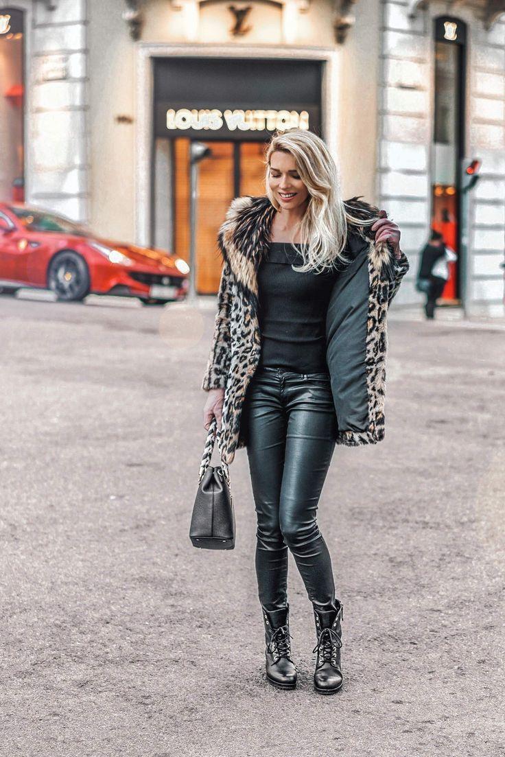 Leopard coat & black jeans | Winter look